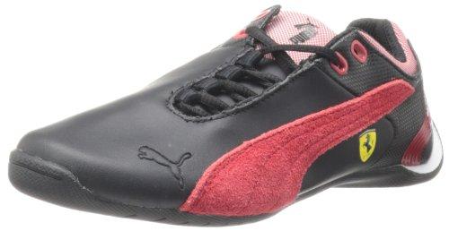 PUMA Future Cat M2 Ferrari Junior Tennis Shoe (Little Kid/Big Kid),Black/Rosa Corsa,5 M US Big Kid