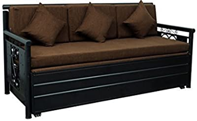 A1 Star Furniture 3 Seater Metal Single Size Sofa Cum Bed with Hydraulic Storage (Texture Finish, Black and Brown)