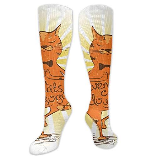 Calcetines para mujer, gato tranquilo con frase motivacional Asana equilibrio posición relajación, calcetines para mujeres y hombres, lo mejor para correr, atletismo, senderismo, viajes, vuelo