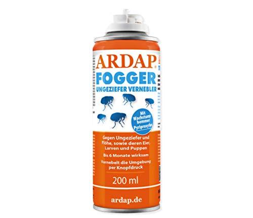 ARDAP Fogger 200ml - Effektiver Vernebler zur Ungeziefer- & Flohbekämpfung für Haushalt & Tierumgebung - für Räume bis 60m² - Wirksamer Schutz für bis zu 6 Monate