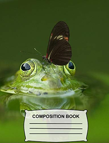Composition Book: Wide Ruled Paper, Butterfly Kisses for a Cute Green Frog Notebook for school, Journal for girls, boys, students, teachers, class and office stationary (Funny Animals)