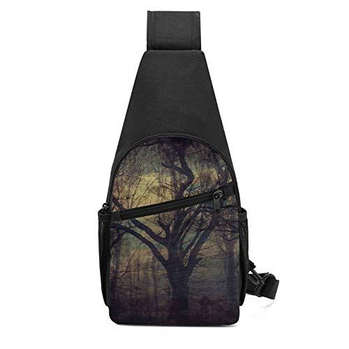 DJNGN Misterioso cuento de hadas oscuro bosque árboles búho pecho multiusos bandolera bandolera viaje senderismo mochila para hombres y mujeres
