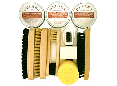 DELARA 12-teiliges Schuhputz-Set mit drei Dosen Intensiver Lederpflege, Holzbürsten mit Naturborsten, Poliertuch und Schwamm