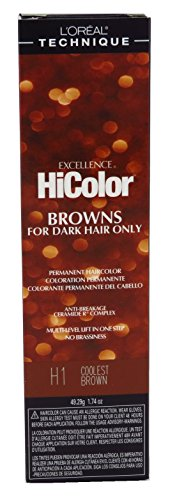 Loreal Excellence Hicolor H01 Tube Coolest Brown 1.74 Ounce (51ml) (3 Pack)