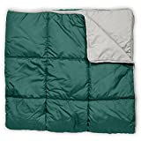 Leisure Co Ultra-Portable Outdoor Camping Blanket - Windproof, Warm, Lightweight and Compact Packable Blanket - Perfect for Camp Trips, Stadium Games, Travel and Picnics (Teal / Greige)