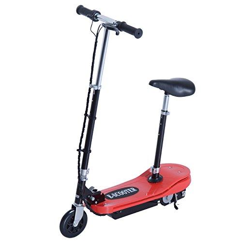 HOMCOM Scooter Elektro Roller faltbar Handbremse Sitz verstellbar, rot