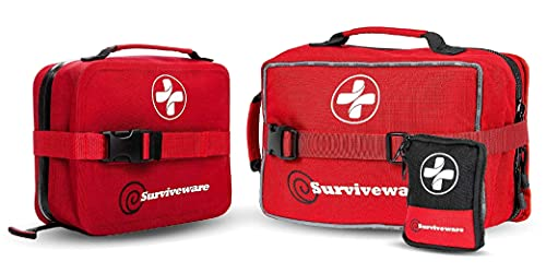 Surviveware Large First Aid Kit and Waterproof First Aid Kit Bundle