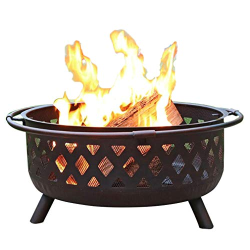 DQY Outdoor Fire Pit, Garden Barbecue Fire Pit, Round Cast Iron Brazier, Camping Bonfire Fire Pit,for Picnic Party Backyard Patio