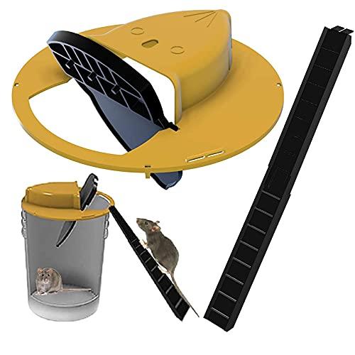 Flip Bucket Lid Maus- / Rattenfalle mit Rampe, ungiftiger Rattenfalleimer-Spinner, humaner Mäusefänger, automatischer Reset, Mehrfachfang (1)