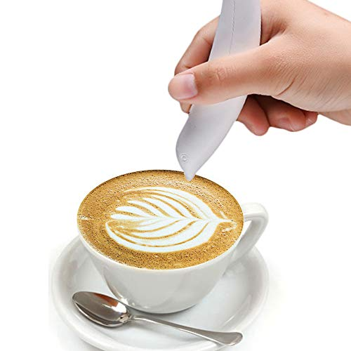ONEVER Eléctrica Latte Arte Pluma para Café Torta de Especias Pluma Decoración de La Torta Pluma de Tallado de Café Pluma Para Hornear Pasteles (1PC)