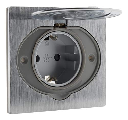 SCHUKO - Toma de suelo (16 A, acabado en aluminio cepillado, IP44)