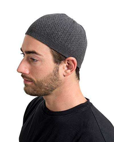 Muslim Bookmark - Elastic One Size Fits Most Premium Cotton Kufi Beanie Skullcap Wavy (Charcoal Gray)