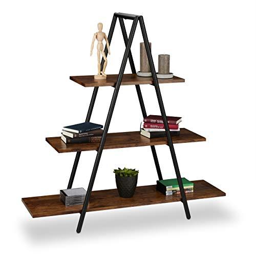 Relaxdays Estantería con Forma de Escalera, Tres estantes, MDF, Acero, Marrón, 121,5 x 120 x 36 cm