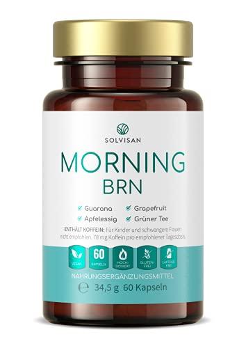 SOLVISAN MORNING BRN mit Koffein und Stoffwechsel Formel aus Guarana, Grapefruit, Apfelessig und Grüner Tee - 60 Kapseln