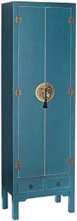 Tousmesmeubles Armoire lingère 2 Portes, 2 tiroirs Bleue Meuble Chinois - Pekin - L 55 x l 33 x H 185 - Neuf
