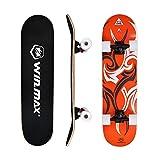 WIN.MAX Planche à roulettes Skateboard Crânes ABEC-7, Roulements avec Roue PU pour Les Enfants Jeunes Adultes et Professionnels Renforcé Skateboard Débutant Etnic-Or