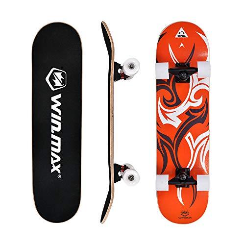 WIN.MAX Skateboard,Completo Double Kick Concave Bambino e Adulto, 4 Cuscinetti ABEC-7 Ideale per Principianti e Professionisti, Etnic-OR