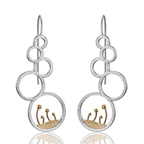 Pendientes de plata de ley 925 de Lotus Fun, elegantes flores y p¨¢jaros, gotas de gota naturales, creativos, hechos a mano, joyas ¨²nicas para mujeres y ni?as