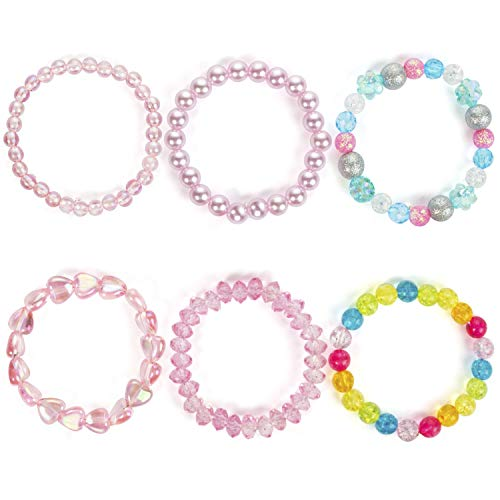 6pc Colorful Stretch Bracelet, Little Girl Heart Bracelets, Teens Kids Pearl Beaded Bracelet Girl Party Favor Pretend Play Bracelet (Color Bracelet)