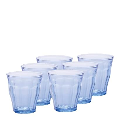 Duralex 1026BB06/6 Made in France Picardie Marine Glass Tumbler Drinking Glasses, 7.75 ounce - Set of 6, Marine Blue