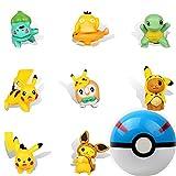 HONGECB Pikachu Cake Topper, 1+8 Piezas Pokémon Ball y Figuras, Pokemon Fiestas Infantiles Decoracion, Adorno De Torta, para Fiestas De Cumpleaños, Baby Shower, Bodas, Decoración del Hogar