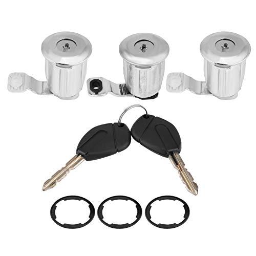 BYARSS Juego de cerradura de puerta, 252522 Juego de barril de cerradura de puerta de coche con llaves para Peugeot Partner Citroen Berlingo Xsara(3 * Barrels(#1))