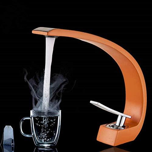 YZDD Grifo grifo de lavabo de baño de cromo naranja grifo monomando en la cubierta del inodoro grifo mezclador grifo de un solo orificio grifo de agua fría y caliente