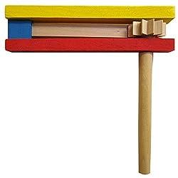 Les Colis Noirs LCN - Crecelle en Bois Multicolore 14,5cm - Instrument Musique Jouet - 999