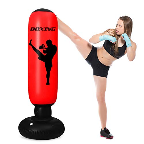 TUOWEI Inflatable Punching Bag for Kids,63 Inch Kids Punching Bag with Stand Bounce Back, Boxing Bag for Kids and Adults,Free Standing Boxing Bag Youth Boxing Bag (red)