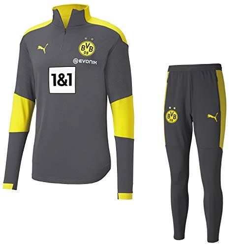 PUMA Borussia Dortmund Trainingsanzug Fanartikel Herren der Saison 2020/21, Größe:S, Farbe:Grey-Yellow