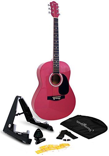 Martin Smith Acoustic Guitar Kit with Stand, Tuner, Gig Bag, Strap, Picks, Spare Strings & Online Lessons 6 String, Right, Pink (W-101-PNK-PK)