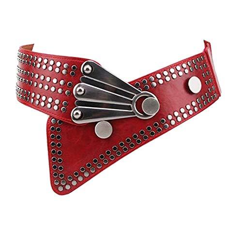 Oyccen Punk Cinturón Ancho de Remache para Mujer Pretina Elástico Señoras Cinturones de Vestir