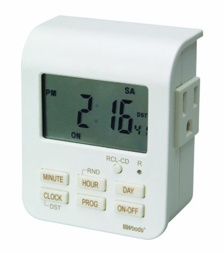 Woods 50009WD Indoor 7-Day Heavy Duty Digital Plug-In Timer, 2 Grounded Outlets
