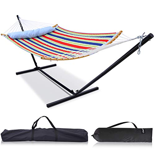 Ohuhu Double Hammock with 12.8 FT Hammock Stand, 55 x 75 Quilted Fabric Hammock Swing with Strong Curved-Bar Bamboo & Pillow, Stable Detachable Metal Stand, Bonus 2 Carrying Bag, Red & Blue Stripe
