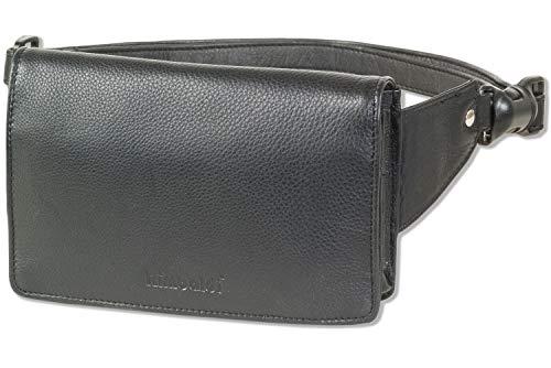 Rimbaldi® - Kompakte Luxus-Bauchtasche - extrem Flach aus feinem Nappa-Rinderleder in Schwarz