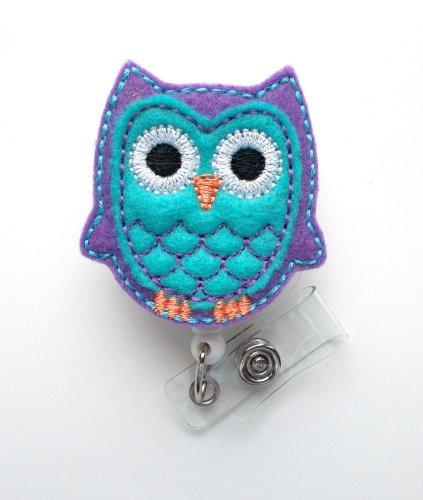 Blue and Purple Owl - Retractable ID Felt Badge Holder - Cute Badge Reel - Nurses Badge Holder - Nurse Badge - Teacher Badge