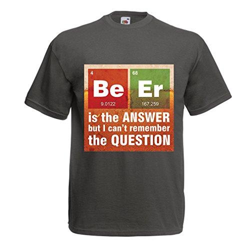 lepni.me Männer T-Shirt Das Bier ist die Antwort! Intelligenter Wissenschaftler, Chemie-Liebhaber Geschenk (X-Large Graphit Mehrfarben)