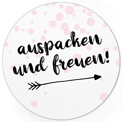 48 moderne Design Etiketten, rund/Auspacken Freuen Rosa/Freude schenken/Herzen/Geschenk-Aufkleber/Sticker/Aufkleber