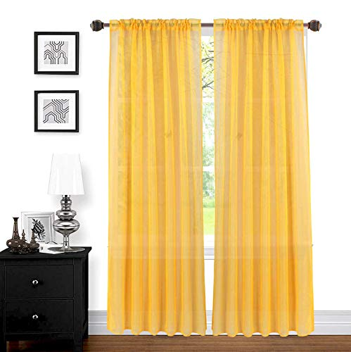 "Sapphire Home 2 Panels Window Sheer Curtains 54"" x 84"" Inches (108"" Total Width), Voile Panels for Bedroom Living Room, Rod Pocket, Decorative Curtains, Solid Sheer Curtains Mustard Yellow"