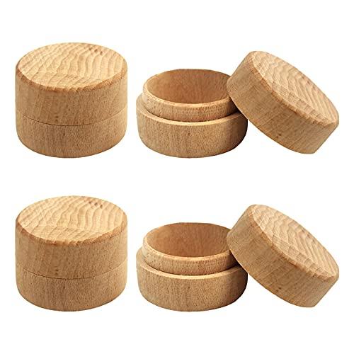 4 piezas Caja de anillo de Madera Redonda de,caja de Almacenamiento Pequeña,cajas de joyería para Anillos de boda Caja de Almacenamiento de Baratija Vintage Portátil.