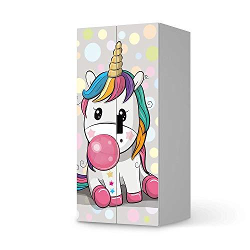 creatisto Möbel Klebefolie für Kinder - passend für IKEA Stuva Schrank - 2 große Türen I Tolle Möbelsticker für Kinderzimmer Einrichtung I Design: Rainbow das Einhorn