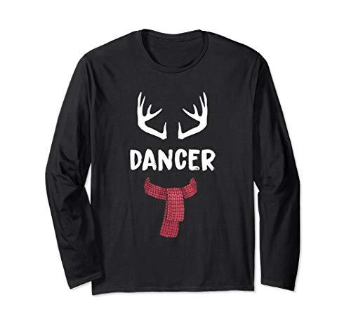 Dancer Reindeer Christmas Matching PJs Group Costume Gift Long Sleeve T-Shirt