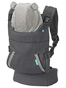 INFANTINO Cuddle Up Ergonomic Hoodie - Carrier, Grey With Multi Coloured Hood