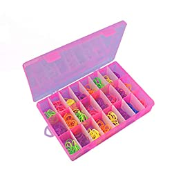 Dosige 24Caisse Boîte de Rangement, Arts de pêche, Caisse de Crochet, Caisse d'accessoires, boîte de Composants en Plastique, démontable, ppjoyas Size 19* 13* 3.6cm (Rose)