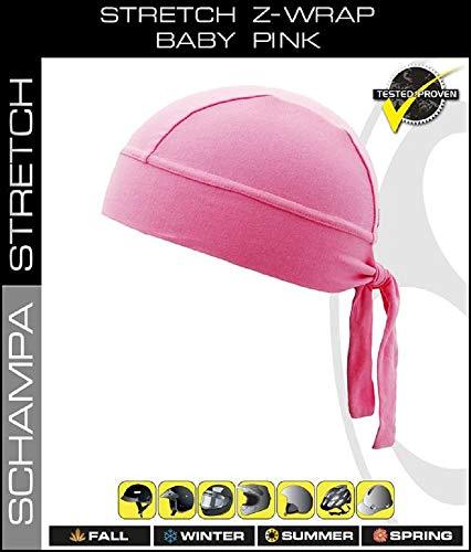 Stretch Z-Wrap Biker Head Wrap Moisture Wicking Durag Schampa (Pink, One Size)
