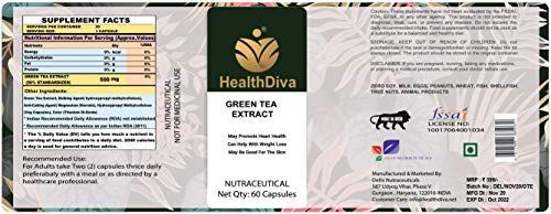 HealthDiva Green Tea Extract for Weight Loss (Fat Burner), 60 capsules, 500 mg, Boosts Energy, Fights Free Radicals, Powerful Antioxidant, Helps Immune System (Pack of 1)