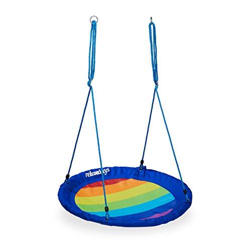 Relaxdays Unisex Jugend Nestschaukel Outdoor, rund, Kinder & Erwachsene, verstellbar, Garten Tellerschaukel bis 100 kg, Ø 100 cm, bunt, 1 Stück