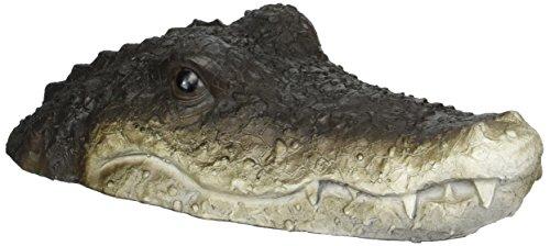 Boltze 5274300 Dekofigur Gartenfigur Schwimmtier Krokodil, Kunststoff, braun