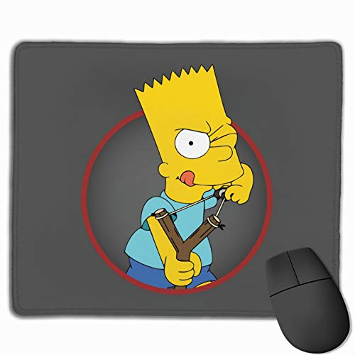 Bart Simpson Computer Mouse Pad with Non-Slip Rubber Base Premium-Textured Stitched Edges Mouse Pads for Laptop Office & Home