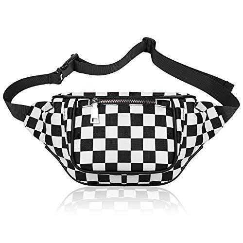 KATELUO Bauchtasche,Gürteltasche,Hüfttasche für Frauen Männer, Sport mit Verstellbarem Gürtel Coole Taille Gürteltasche für Laufen Reisen Party Wandern (Schwarz-Weiß)
